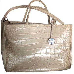 Furla Practica Cream Croc Embossed Shoulder Bag